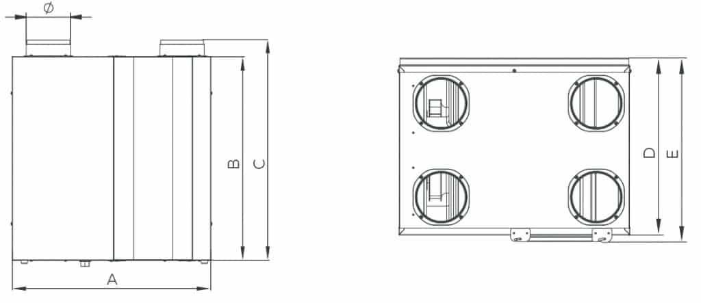 Recuperador de calor doméstico con salidas verticales